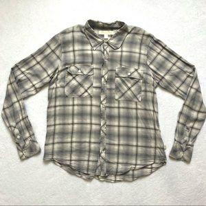 True Religion Grey Plaid Flannel Button up Top